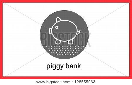 Piggy bank contour outline vector icon. linear pictogram