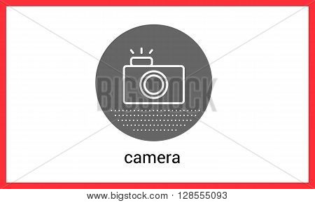 Camera contour outline vector icon. Photocamera linear pictogram