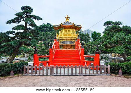 Tang Dynasty Golden Pavilion In Chi Lin Nunnery, Hong Kong