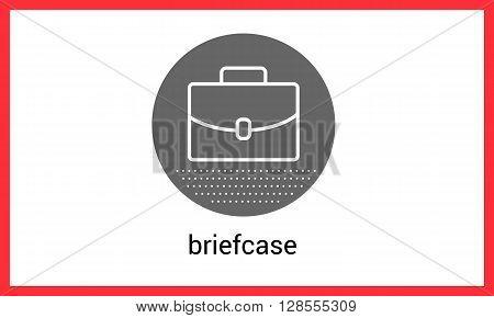 Briefcase contour outline vector icon. Suitcase linear pictogram