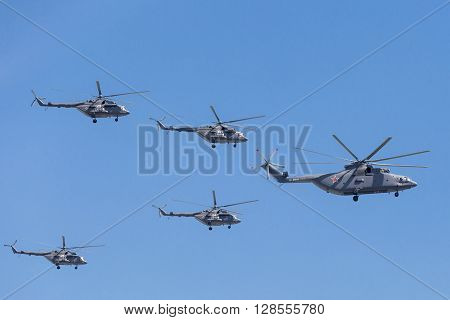 Mi-26 (halo) And Mi-8Amtk (hip) Helicopters Fly On Military Parade Devoted To 70Th Anniversary Of Vi