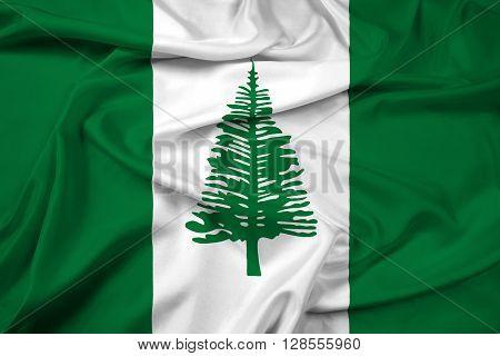 Waving Flag of Norfolk Island, with beautiful satin background.