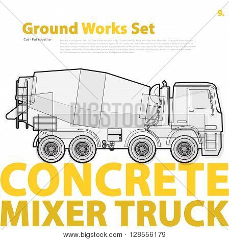 Concrete mixer truck. Outline typography set with mix. Construction machinery vehicle. Transportation of concrete. Construction equipment for building. Ground works catalog typography page set.