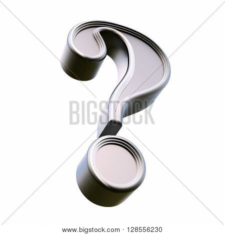 Metal question mark. Isolated on white background. 3d rendering