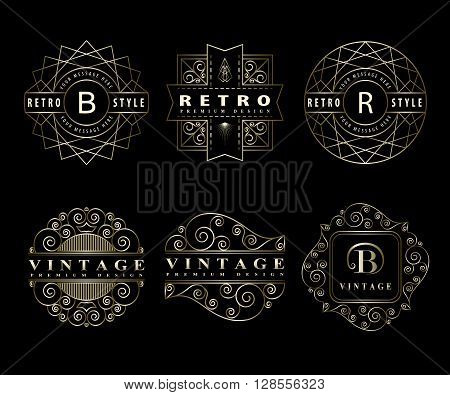 Vector illustration of Monogram design elements graceful template. Calligraphic elegant line art logo design Letter emblem sign B R for Royalty business card Boutique Hotel Restaurant Cafe