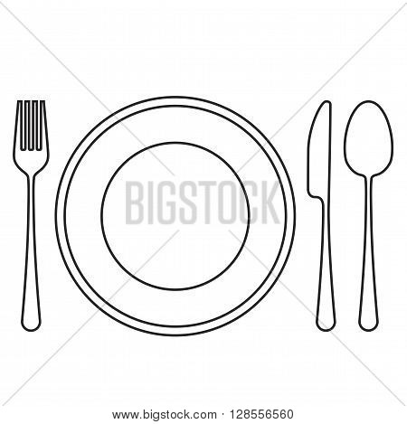 Empty plate with spoon, knife and fork. Vector illustration.