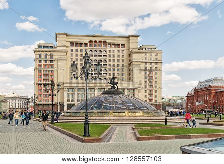 Moscow Russia - April 24 2016: Four Seasons Hotel. Modern replica of the legendary Hotel Moskva originally opened in 1935 luxurious Four Seasons Hotel Moscow is connected to history yet stylish and contemporary.