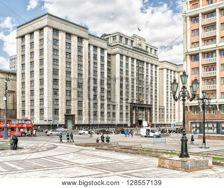 Moscow Russia - April 24 2016: Headquarters of Russian State Duma. State Duma (Russian: Gosudarstvennaya Duma) in the Russian Federation is the lower house of the Federal Assembly of Russia (legislature).