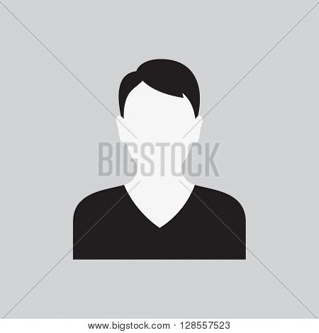 Vector illustration of Men icon. Male web sign flat art object. Black and white Silhouette of boy. Avatar picture app