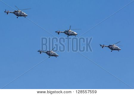 Ansat-u Light Multipurpose Helicopters Fly On Military Parade Devoted To 70Th Anniversary Of Victory