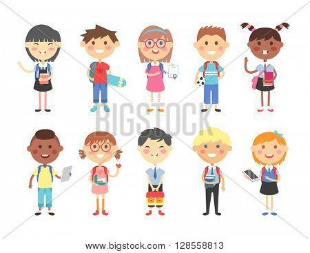 School kids vector illustration.