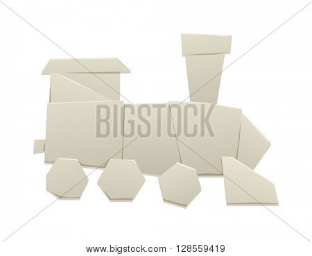 Origami train vector illustration.