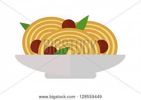 Pasta dish vector illustration.