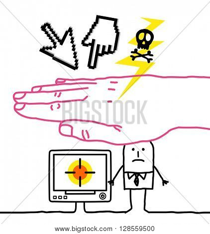 big hand and cartoon characters - cyber crime