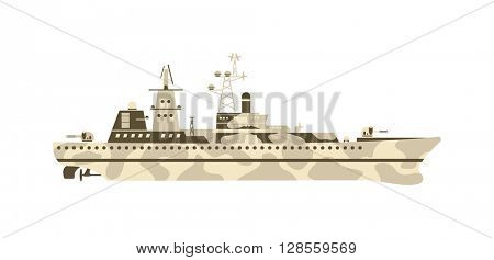 Military ship vector illustration.