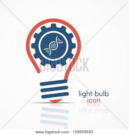 Red Light Bulb Idea Icon With Gear And Atom Model Inside