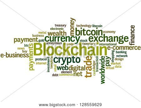 Blockchain, Word Cloud Concept 9