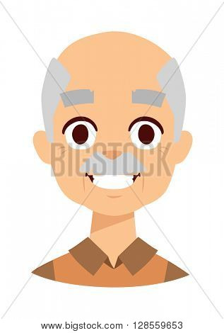Smiling grandpa vector illustration.