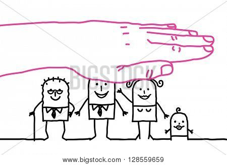 big hand and cartoon characters - life insurance