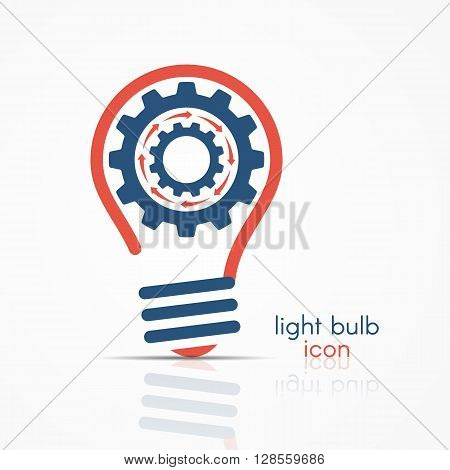 Red Light Bulb Idea Icon With Rotating Gears