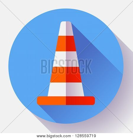 Traffic cone color icon. under construction symbol. Flat design style