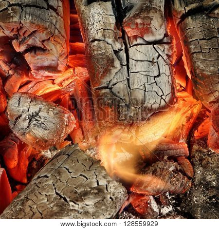 Hot Charcoal Briquettes Glow In BBQ Grill Pit Background Texture Overhead View