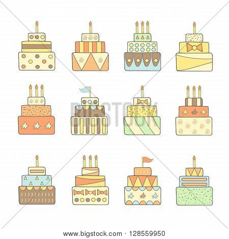 Cute hand drawn doodle cakes set. Cake icon. Cake for birthday wedding party