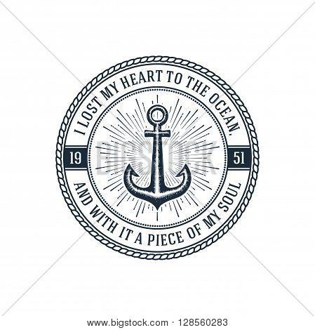 Hipster vintage label 'i lost my heart to the ocean, and with it a piece of my soul'. Design for t-shirt print or poster. Vector illustration.