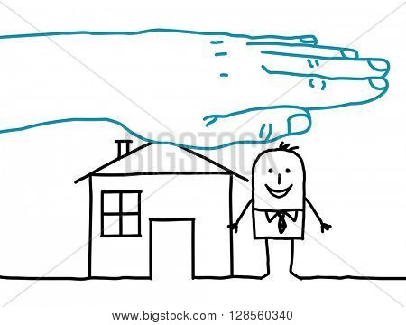 big hand and cartoon characters - house insurance