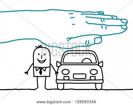 big hand and cartoon characters - car insurance