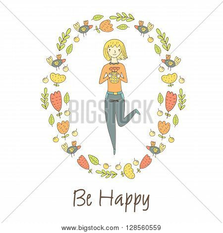 Cute hand drawn doodle postcard card cover with happy blonde girl with flowers. Background with flowers berries leaves pretty woman. Be happy postcard
