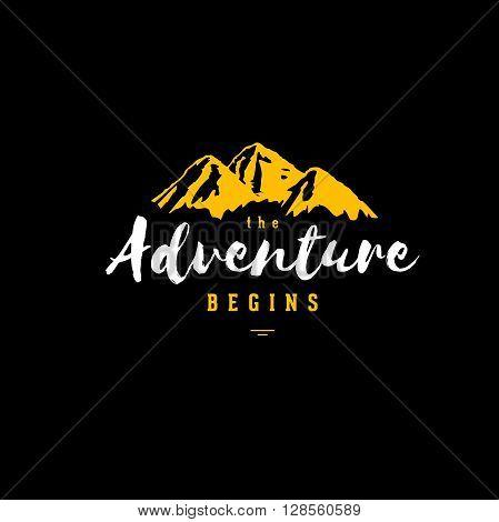 The Adventure Begins vintage illustration with mountains. Design for t-shirt print or poster. Vector illustration.