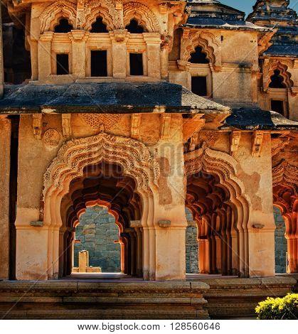 Ancient ruins of Lotus Temple Royal Centre Hampi Karnataka India