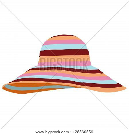 Vector illustration colorful beach hat isolated on white background. Striped sun summer hat