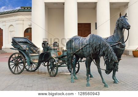 Sculpture Governors Carriage In Minsk. Belarus