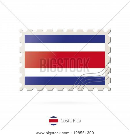Postage Stamp With The Image Of Costa Rica Flag.