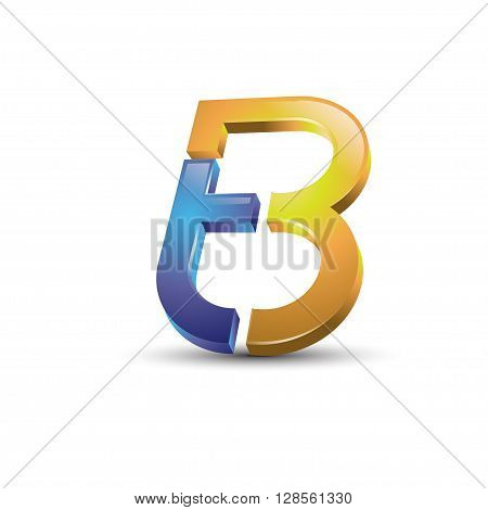 Letter TB 3d colorful style vector symbol