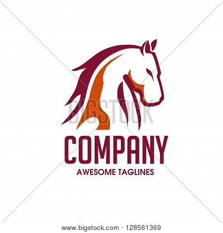 Horse Head sporty symbol with 2 color  Vector Image