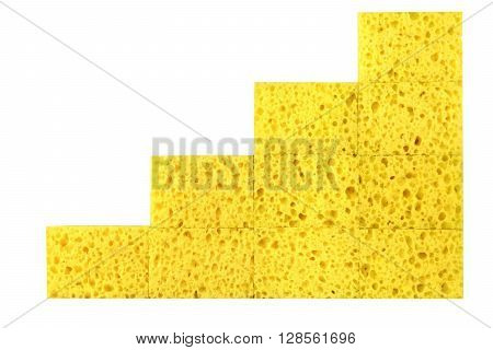 New Absorbent Sponge In Stack Isolated On White