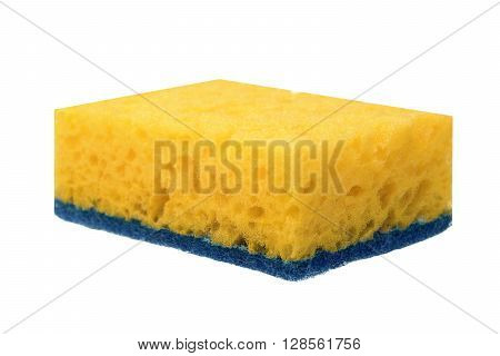Single New Absorbent Sponge With Hardwearing Scourer Isolated On White