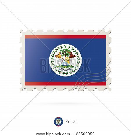 Postage Stamp With The Image Of Belize Flag.