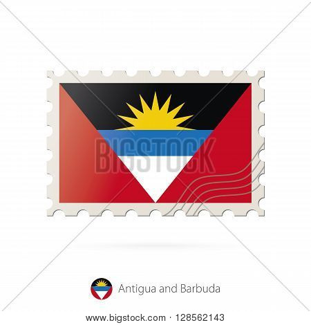 Postage Stamp With The Image Of Antigua And Barbuda Flag.