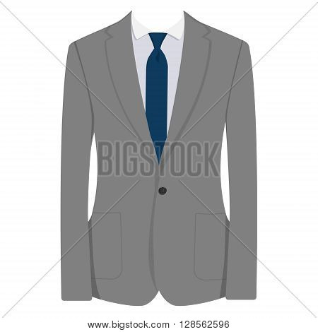 Vector illustration of grey man suit with blue tie and white shirt isolated on white background. Business suit business mens suit man in suit