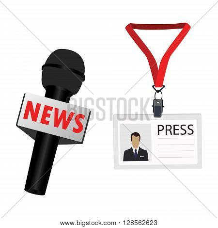 Vector illustration flat design name tag badge template. White plastic lanyard badge with man photo for press and journalist microphone