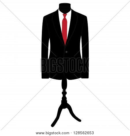 Vector illustration of black man suit with red tie and white shirt on mannequin. Business suit business mens suit man in suit