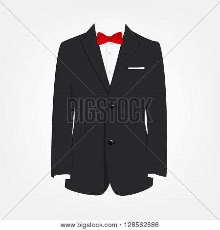 Vector illustration elegant modern businessman black suit with red bow tie. Suit icon