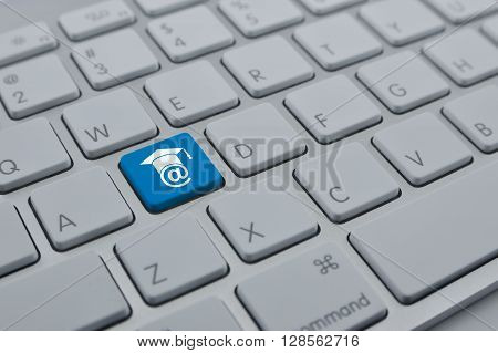 E-learning icon on modern computer keyboard button Study online concept