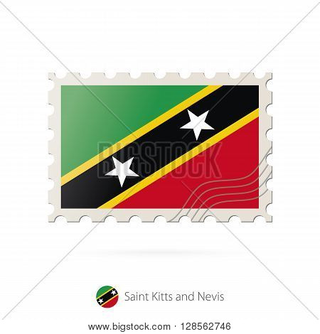Postage Stamp With The Image Of Saint Kitts And Nevis Flag.