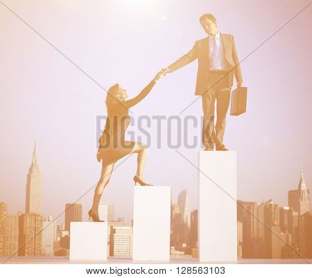 Businessman Helping a Colleague to Succeed Concept