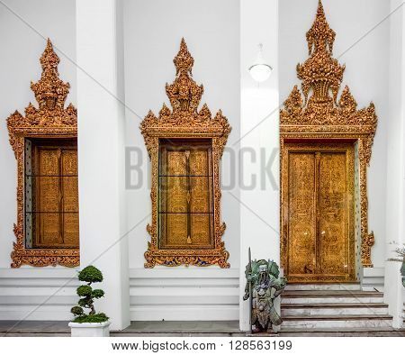 Classical Thai architecture in Wat Pho public temple Bangkok Thailand. Wat Pho known also as the Temple of the Reclining Buddha.